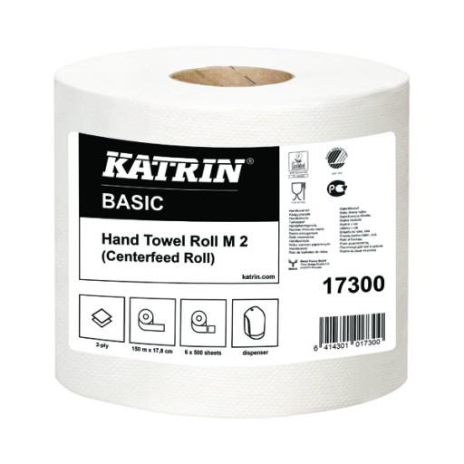 Katrin White Centrefeed 2 Ply Hand Towel White (Pack of 6) 17300