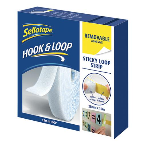 Sellotape (25mm x 12m) Removable Sticky Loop Strip