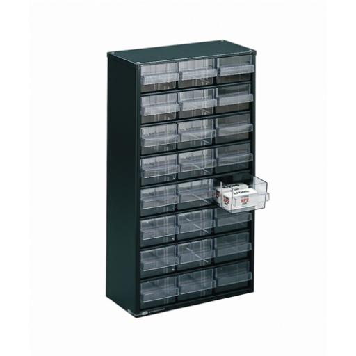 Clear 24 Drawer System Dark Grey Storage Cabinet 324124