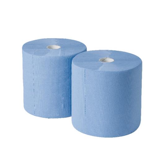 2Work 170mx250mm 3-Ply Blue Industrial Roll Pack of 2 GEM503B