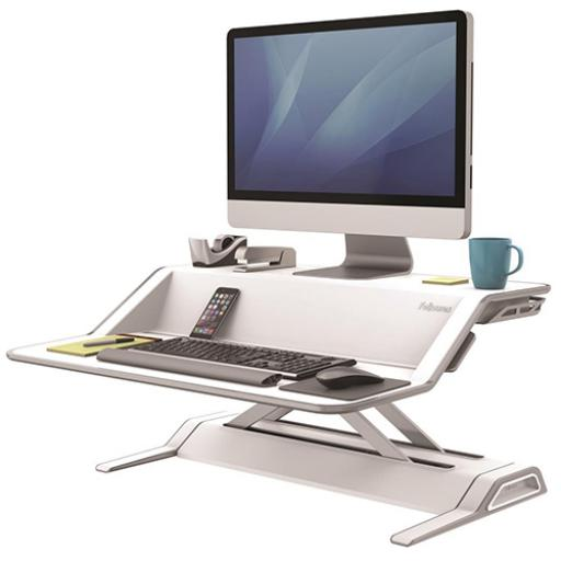 Fellowes Lotus Sit-Stand Workstation Smooth Lift Technology 22 Height Adjustments White Ref 9901
