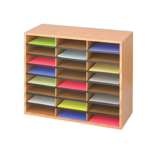 Safco Oak 24 Compartment Literature Organiser 9402MO