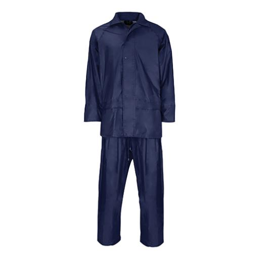 Rainsuit Poly/PVC with Elasticated Waisted Trousers 2XL Navy *Approx 3 Day Leadtime*