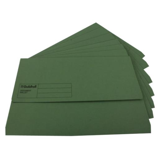 Guildhall Foolscap Green Document Wallet Pack of 50 GDW1-GRN