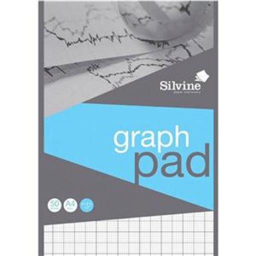 Silvine (A4) Student Graph Pad with 2mm/10mm/20mm Grid (90gsm) 50 Sheets Per Pad Pack of 10 Pads (Prize Draw) April-December 2016