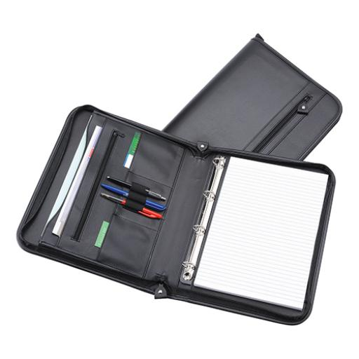 5 Star Office Zipped Conference Ring Binder Capacity 20mm Leather Look A4 Black
