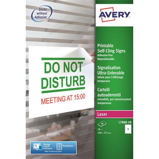 Avery Removeable Self-Cling Sign 190x275mm 1 per Sheet Ref L7080-10 [10 Signs]