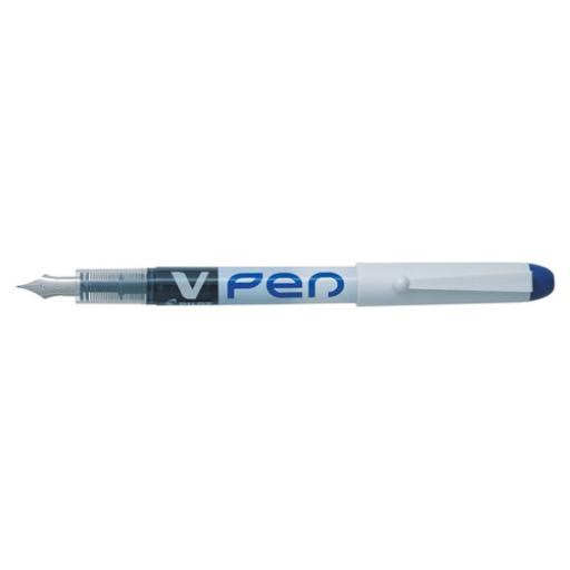Pilot Blue Ink/White Barrel VPen Disposable Fountain Pen (Pack of 12) SV4W03