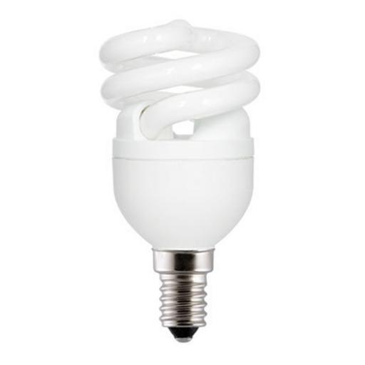 GE 8W T2 Heliax E14 Spiral Cpt Flres Bulb Screw Fit 430lm EEC-A Daylight Ref85633 *Up to 10 Day Leadtime*