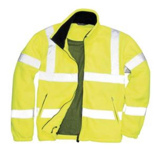 Portwest High Visibility Fleece Jacket Polyester Zip Pockets Yellow (Large)