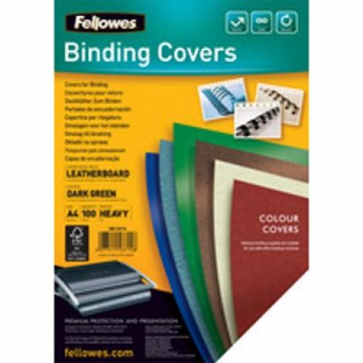 Fellowes FSC A4 Delta Cover Dark Green Pack of 100 5371503