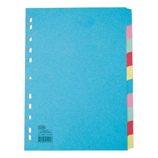 Elba Subject Dividers 10-Part Card Multipunched Recyclable 160gsm Extra Wide A4+ Assorted Ref 400007242