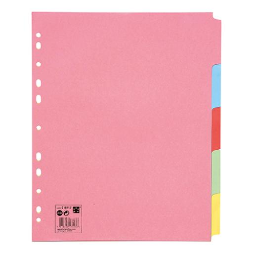 5 Star Office Subject Dividers 5-Part Recycled Card Multipunched 155gsm Extra Wide A4+ Assorted