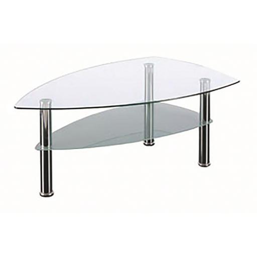 Sonix Boat Glass Table 1190x690x450mm Chrome Legs