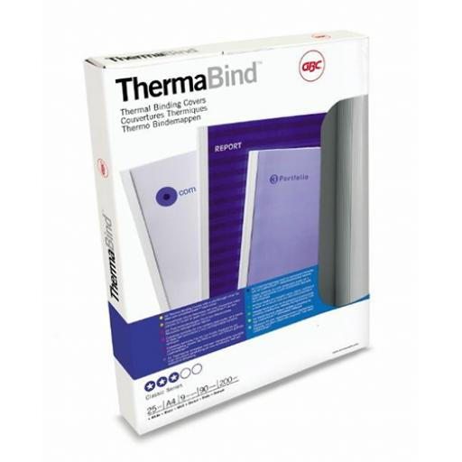 GBC (A4) Thermal Binding Covers 1.5mm 200gsm PVC/Gloss (Back Clear/White) Pack of 25