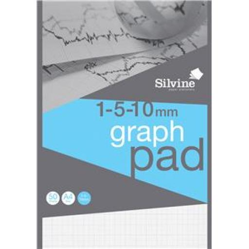 Silvine (A4) Student Graph Pad with 1mm/5mm/10mm Grid (90gsm) 50 Sheets Per Pad Pack of 10 Pads (Prize Draw) April-December 2016