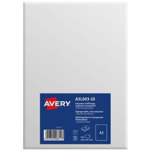 Avery Labels for Windows/Glass Repositionable A3 Clear Ref A3L003-10 [Pack 10]