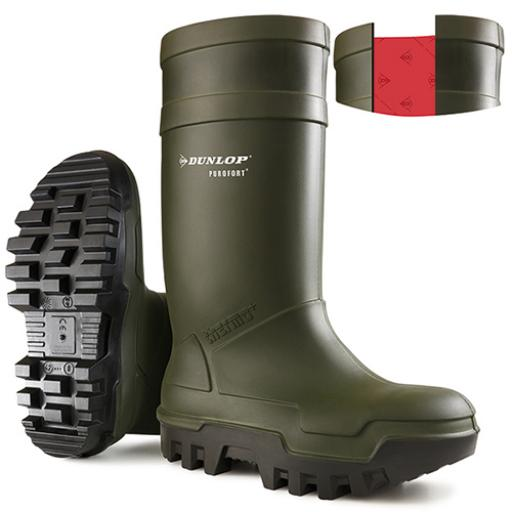 Dunlop Purofort Thermoplus Full Safety Wellington Green 09