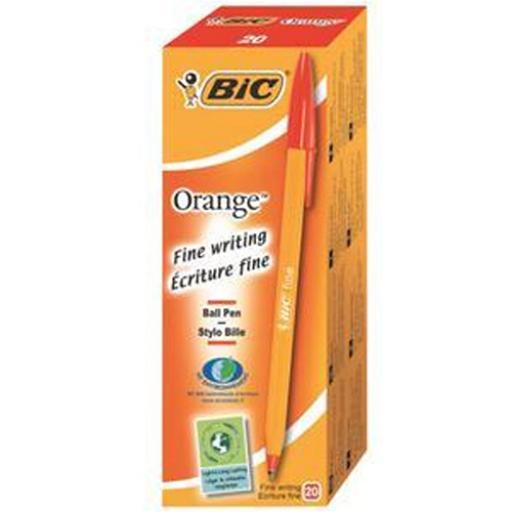Bic Orange Ball Pen Fine 0.8mm Tip 0.3mm Line Red Ref 1199110112 [Pack 20]
