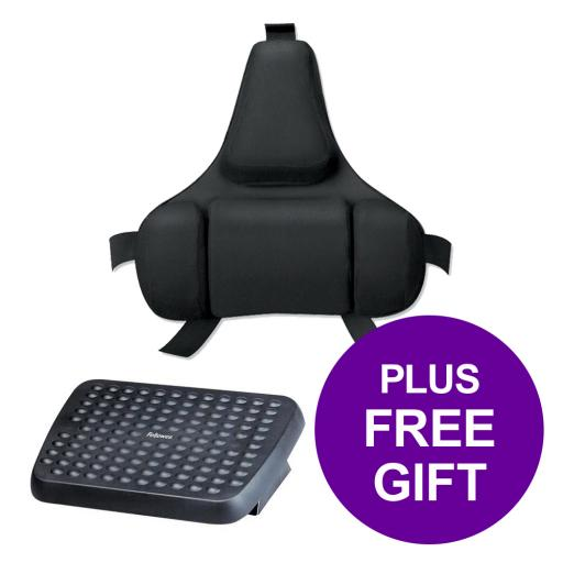 Fellowes Ultimate Back Support Adjustable Mid-spine and Lumbar Ref 8037612 [FREE Footrest] Apr-Sep 2019
