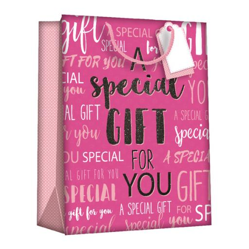 Regent Gift Bags Wordy Pink Medium (Pack of 6) Z723M