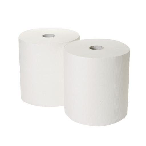2Work 170mx250mm 3-Ply White Industrial Roll Pack of 2 GEM503B