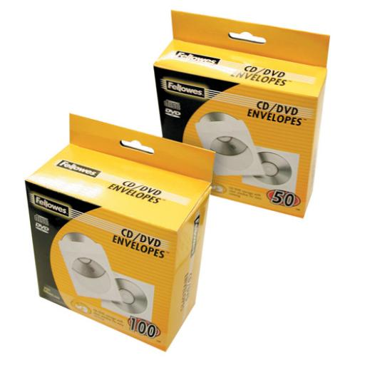 FELLOWES CD PAPER ENVELOPES 100PK