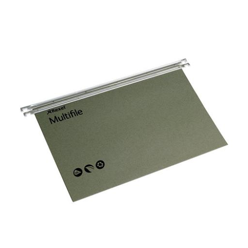 Rexel Multifile Suspension File Manilla 15mm V-base 180gsm Foolscap Green Ref 78008 [Pack 50]
