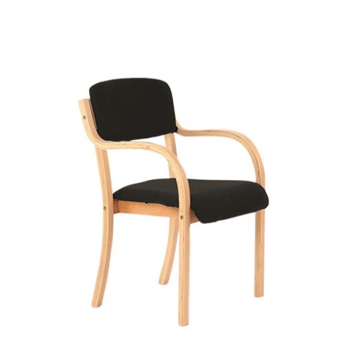 Trexus Wood Frame Conference Chair With Arms Black 450x490x450mm Ref BR000084