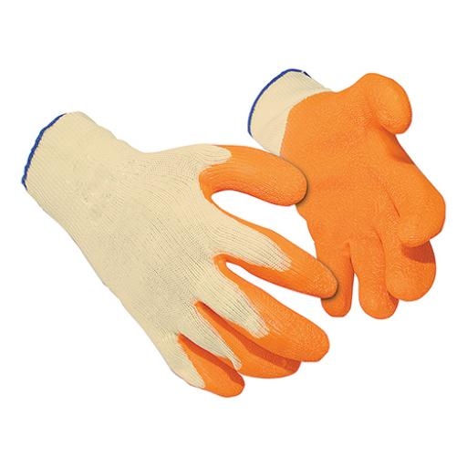 Latex Gloves Polyester Cotton Large Orange [12 Pairs]