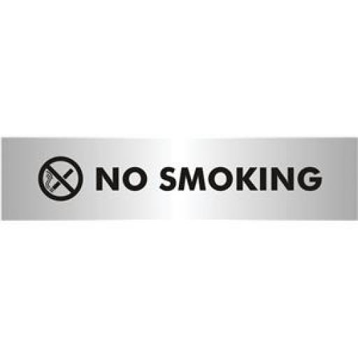 VFM (190x45mm) No Smoking Aluminium Acrylic Safety Sign (Silver/Black)