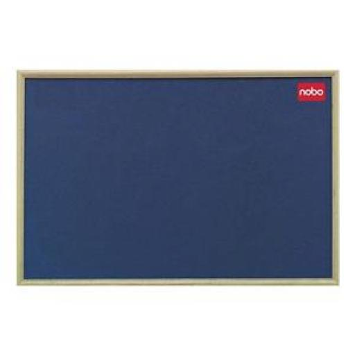 Nobo (900 x 600mm) Elipse Classic Office Noticeboard with Natural Oak Finish and Fixings (Blue)