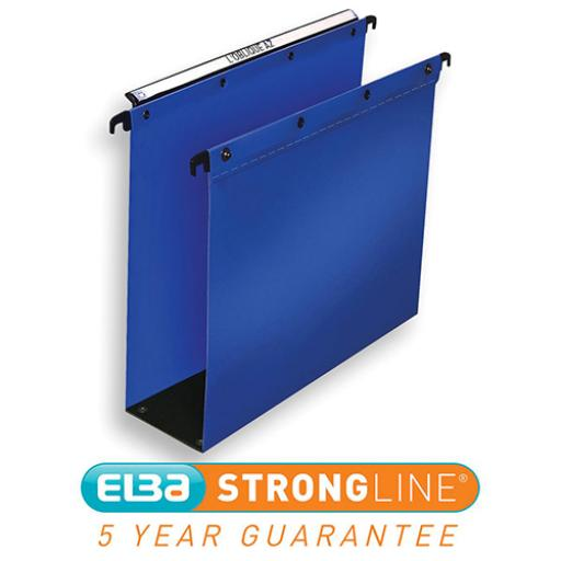 Elba Ultimate Linking Suspension File Polypropylene 80mm Wide-base Foolscap Blue Ref 100330417 [Pack 10]