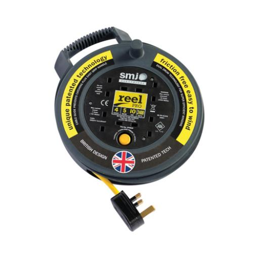 5 Metre Extension Reel 4 Socket (Black/Yellow)