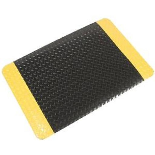 Coba PVC Diamond Tread Foam-backed Yellow-bordered Safety Deck Plate Mat (Black/Yellow)
