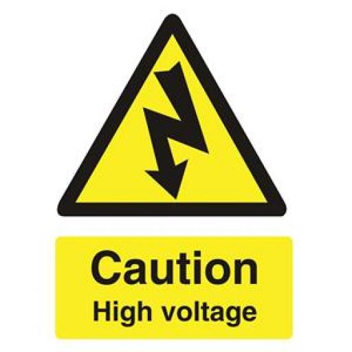 Stewart Superior WO137SAV Self-Adhesive Vinyl Sign (150x200mm) - Caution High Voltage