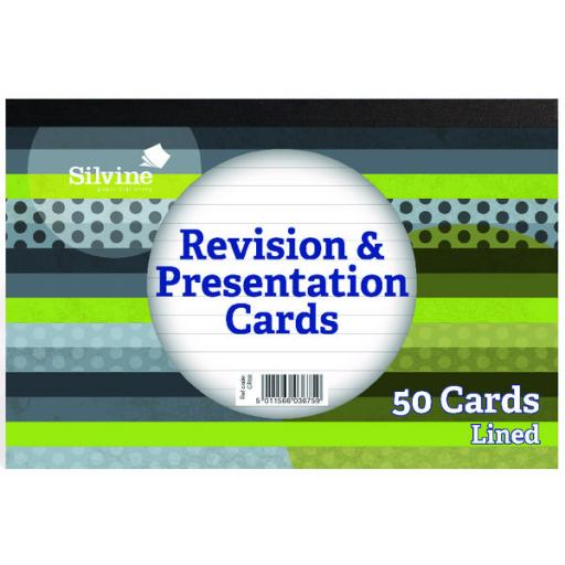 Silvine 50 Revision Notecard Pad Lined White (Pack of 20) CR50
