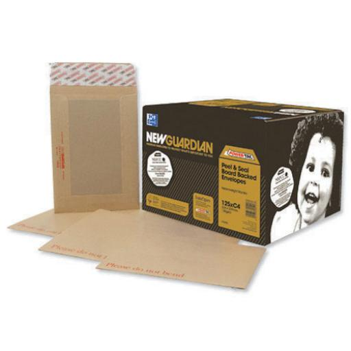 New Guardian Envelopes Heavyweight Board Backed Pocket Window Peel and Seal C4 130gsm Manilla [Pack 125]