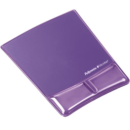 Fellowes Professional Crystal Gel Mouse Pad Wrist Rest Microban Cushioned Purple Ref 9183501