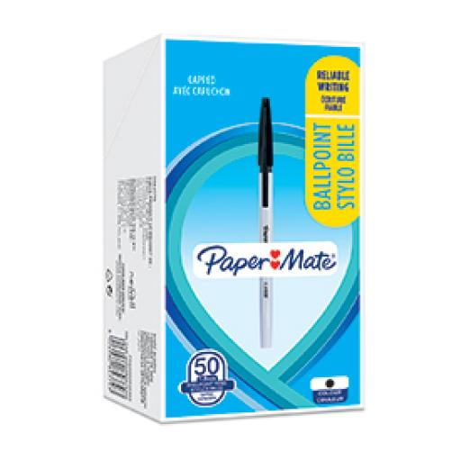 Paper Mate 2084379 Ball Point Stick Capped Pen Black Box of 50