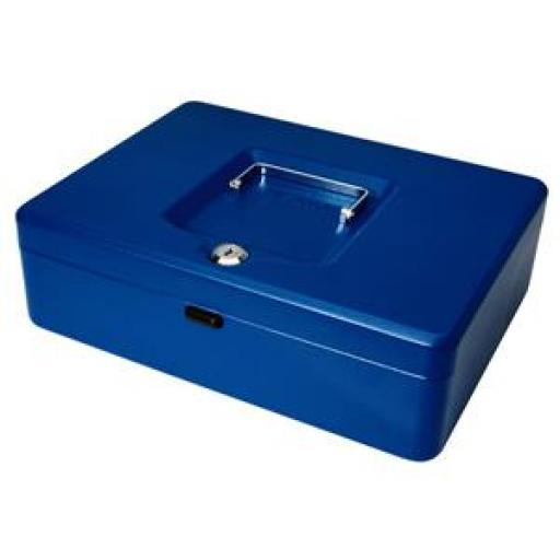 Cash Box (Blue) with Simple Latch and 2 Keys plus Removable 30cm Coin Tray