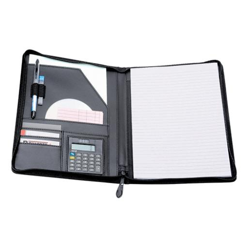 5 Star Elite Zipped Conference Folder with Calculator Leather Look A4 Black