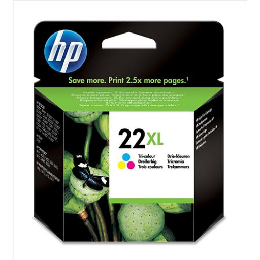 Hewlett Packard [HP] No.22XL Inkjet Cartridge High Yield Page Life 415pp 11ml Tri-Colour Ref C9352CE