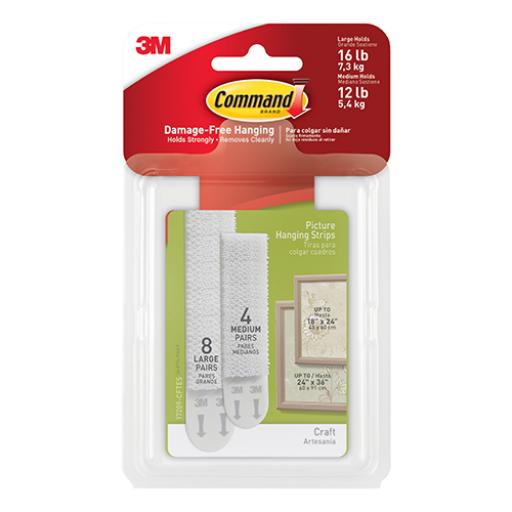 Command Picture Hanging Strips Medium & Large Mixed Ref 70006901741 [Pack 12]