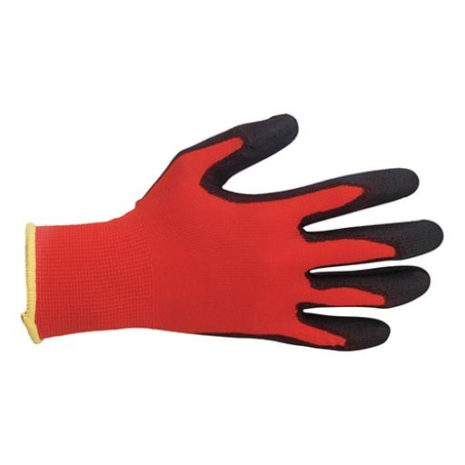 Keepsafe Safety Gloves Light-duty Level 1 PU Coated Size 9 Red/Black (Pair)