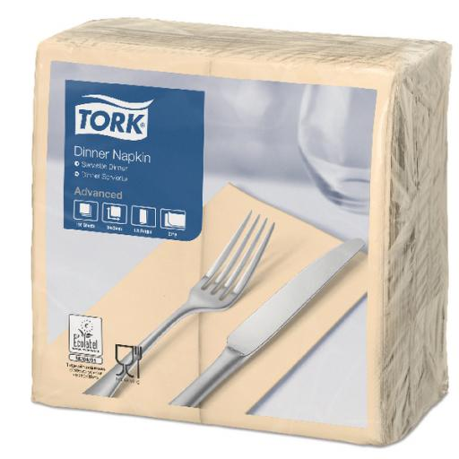 Tork Dinner Napkin 2 Ply 8 Fold Sand (Pack of 150) 477565