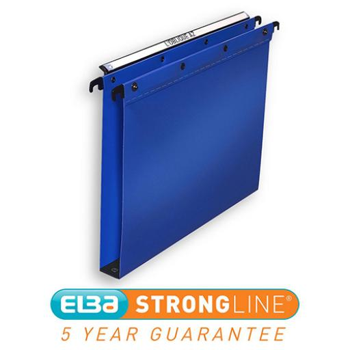 Elba Ultimate Linking Suspension File Polypropylene 30mm Wide-base Foolscap Blue Ref 100330371 [Pack 25]