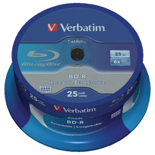 Verbatim Blu-ray BD-R 25GB 6x Spindle (Pack of 25) 43837