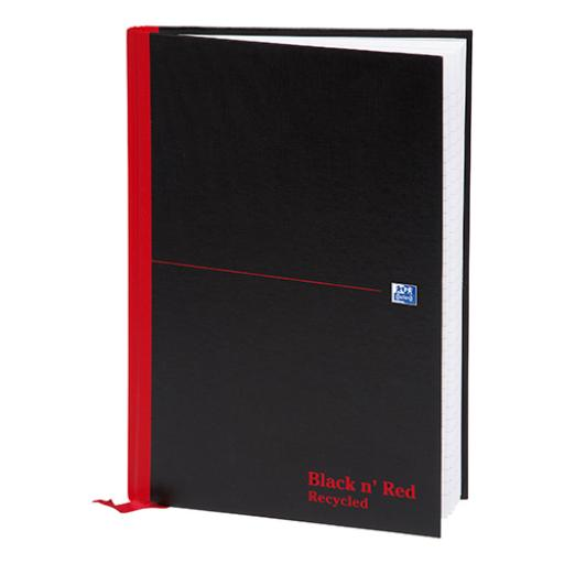 Black n Red Notebook Casebound 90gsm Ruled Recycled 192pp A4 Ref 100080530 [Pack 5]