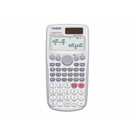 Casio FX-85GTPLUS Scientific Calculator Solar and Battery TwinLine Textbook Display 10+2 Digit (White)